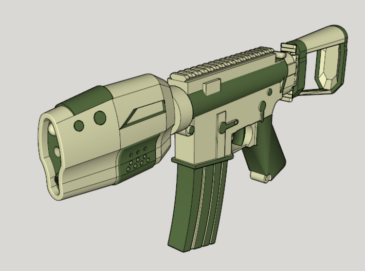 Gunder R4F SciFi CQB Rifle 3d printed Suggested Color Scheme