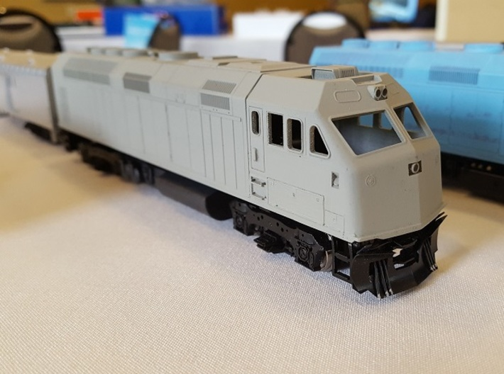 HO F69PH-AC Cab for Kato F40PH 3d printed Cab installed and painted in primer
