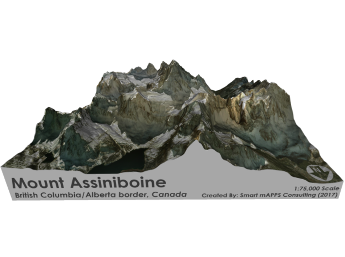 Mount Assiniboine Map - Natural 3d printed