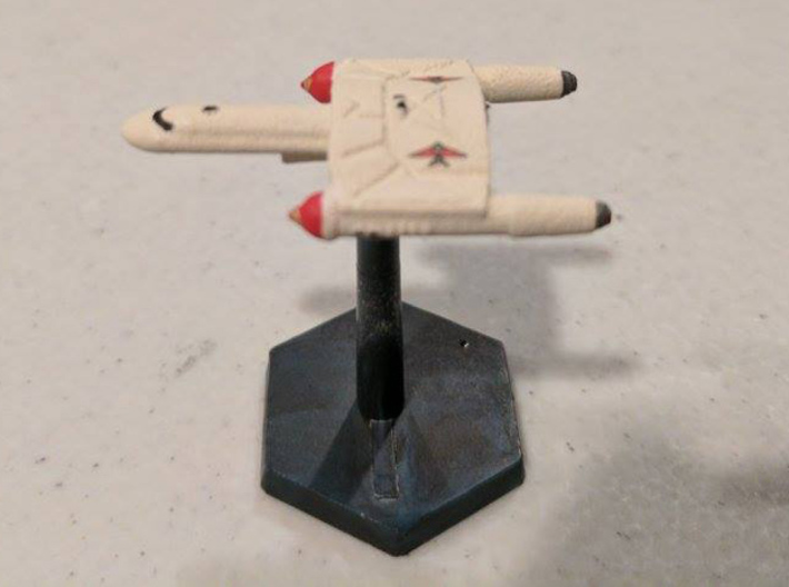 3788 Scale Romulan SkyHawk-L Destroyer Leader WEM 3d printed Ship is in White Natural Versatile Plastic and painted by a fan. Stand not included.
