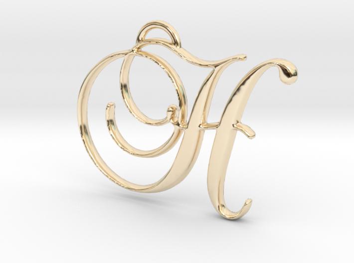 Elegant Script Monogram H Pendant Charm 3d printed