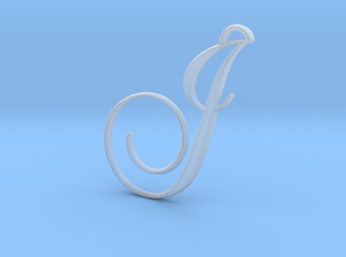 Elegant Script Monogram J Pendant Charm 3d printed