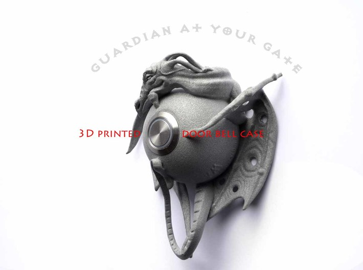 "LUX DRACONIS - Dragon door bell 3d printed dragon door bell ""Guardian at your gate"" - 3D printed in polished metallic plastic"