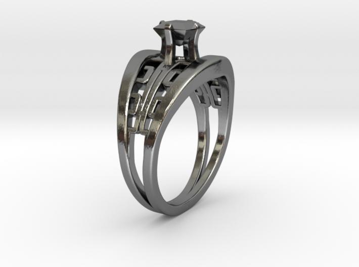 Korean Twin Ring + Square Gem 3d printed Korean Twin Ring + Square Gem