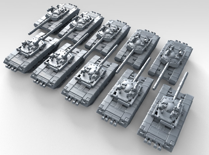 1/600 Chinese (PLAGF) ZTZ99 Main Battle Tank X10 3d printed 3d render showing product detail