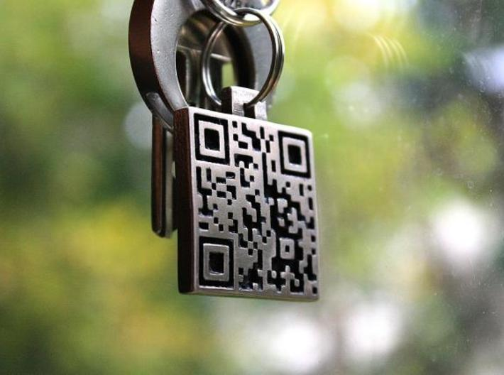 QR steel tag / business card 3d printed tag as a keychain 1
