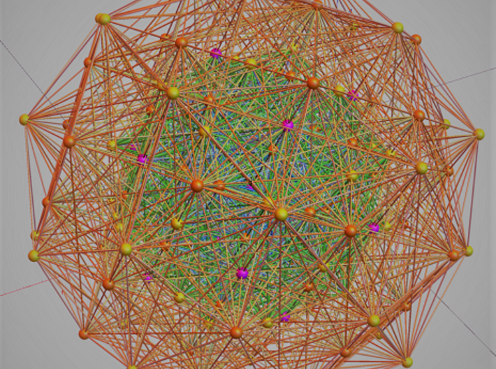 E8 polytope, orthographic 3d printed projection info