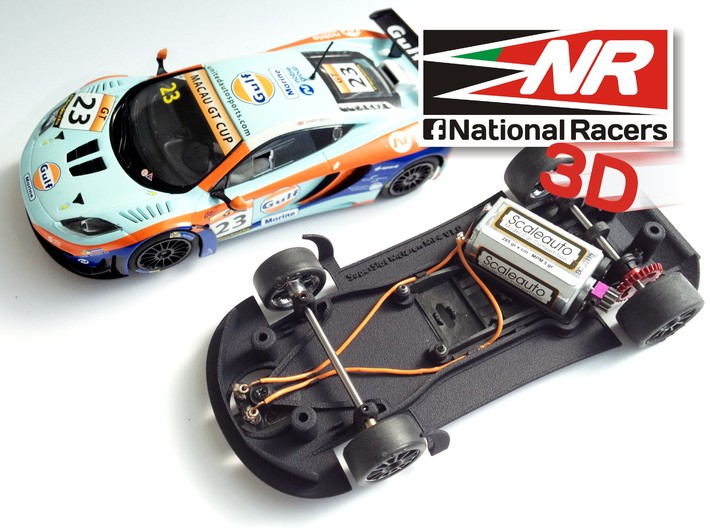 3D chassis - SuperSlot Mclaren MP4 (Aw/Sw) 3d printed Chassis compatible with SuperSlot model (slot car and other parts not included)