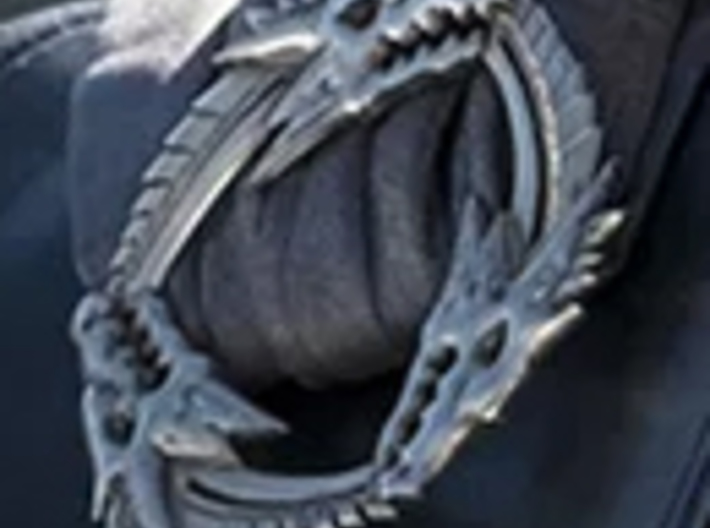 Three Headed Dragon Brooch 3d printed Close up reference photo