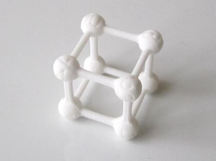 Average D6 Molecule Dice 3d printed In White Strong and Flexible