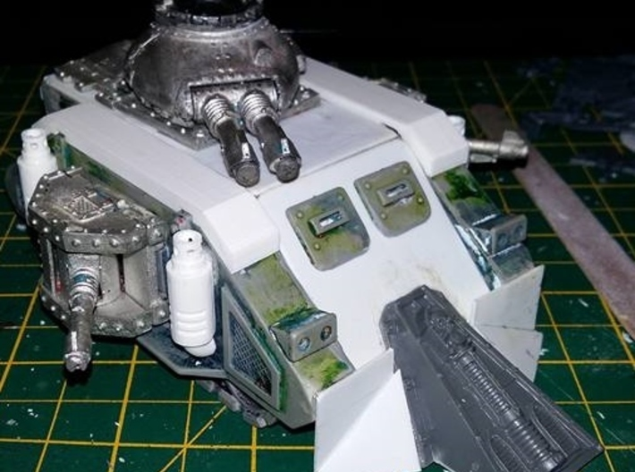 Exhaust Stack 3d printed Prototype print on a heavily repaired and converted Space Marine Predator Tank