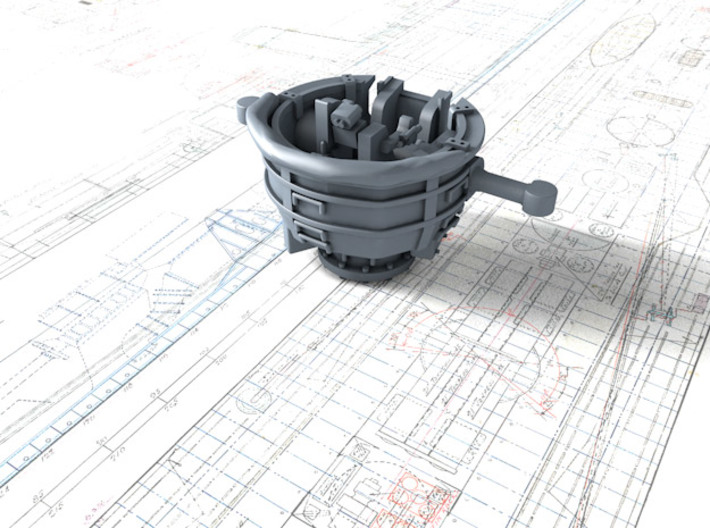 1/600 RN WW2 HACS MKIV Open (4) 3d printed 3d Render showing product detail