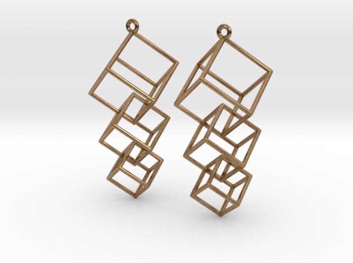 Dangling Cubes Earrings 3d printed