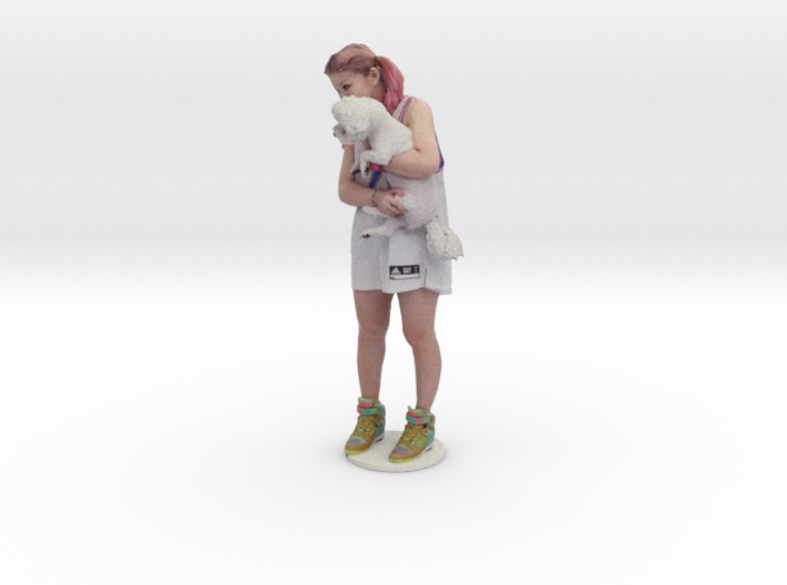 Scanned Pretty Girl and dog 3d printed