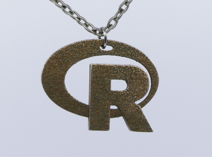 Pendant R Statistics Logo (thickness 2.6 mm) 3d printed
