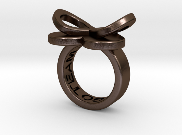 AMOUR petite in polished bronze steel 3d printed