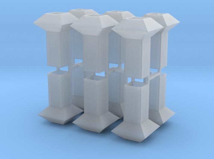Dachlüfter 12erSet Typ 1 und 2 modern 1:120 3d printed