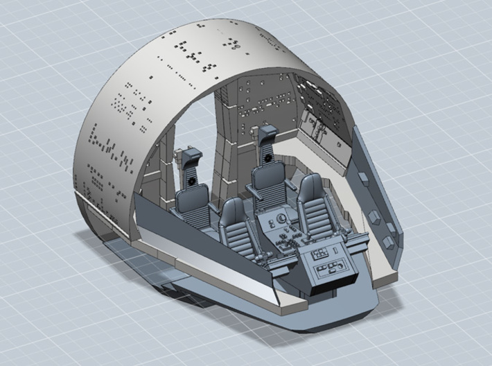 YT1300 MPC CABIN BACK WALL 3d printed Millennium Falcon interior cabin kit, render.