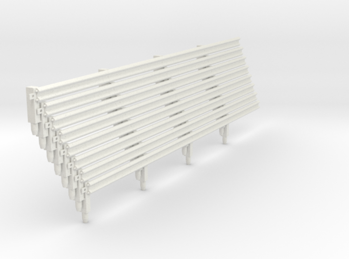 Armco Rail on 4 Wooden Posts, 8pcs 3d printed