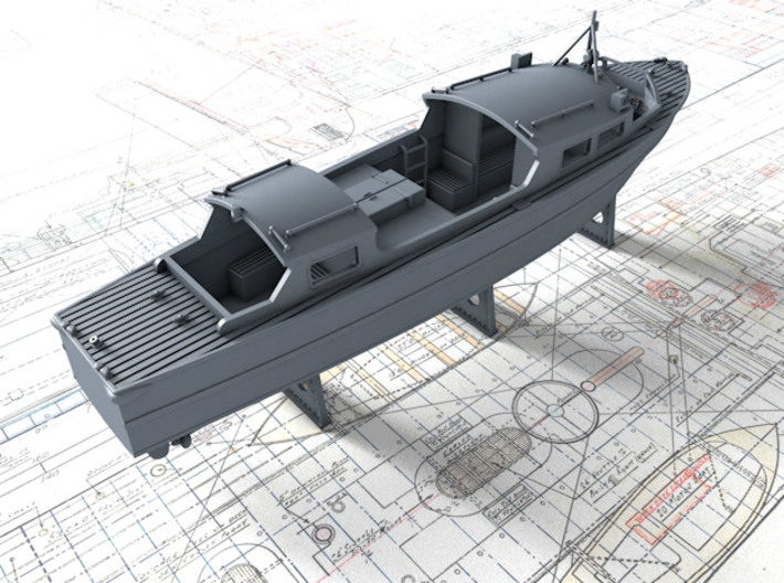 1/96 Royal Navy 35ft Fast Motor Boat 3d printed 3d render showing product detail