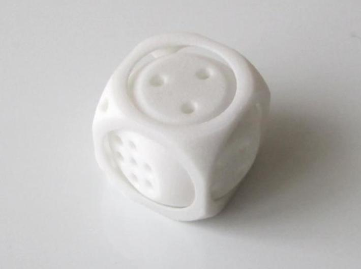 Double D6 Dice 3d printed In White Strong and Flexible