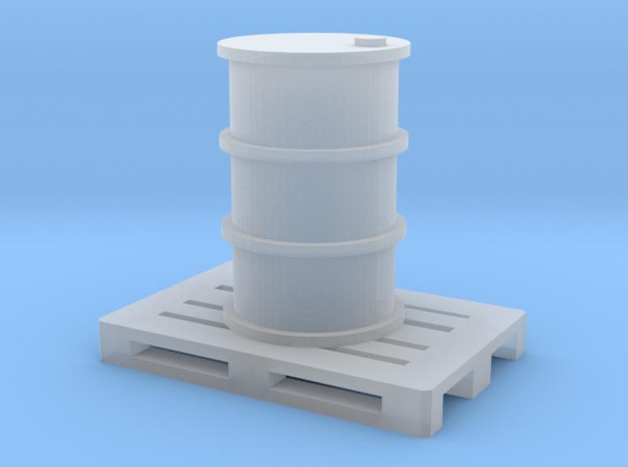 200 Liter Faß auf Europalette - 1:120 3d printed