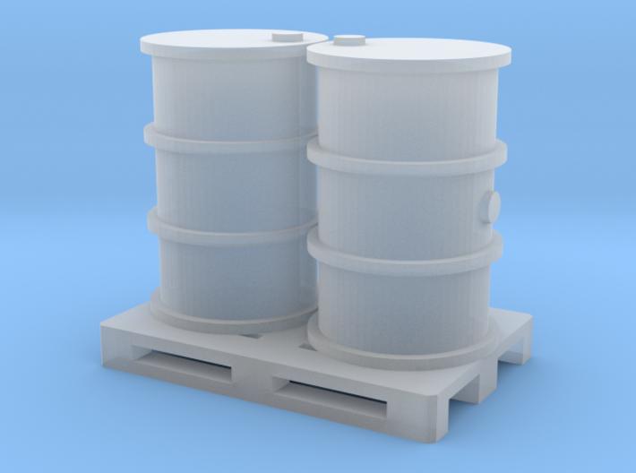 200 Liter Fässer auf Europalette - 1:120 3d printed