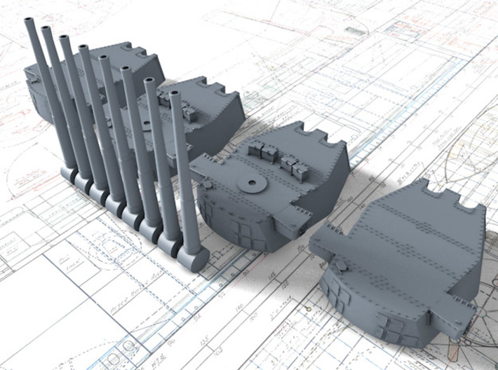 """1/700 Scale Royal Navy Twin 16"""" Guns x4 3d printed 3d render showing product detail"""