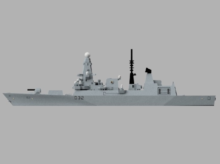 1/1800 HMS Daring 3d printed Computer software render.The actual model is not full color.