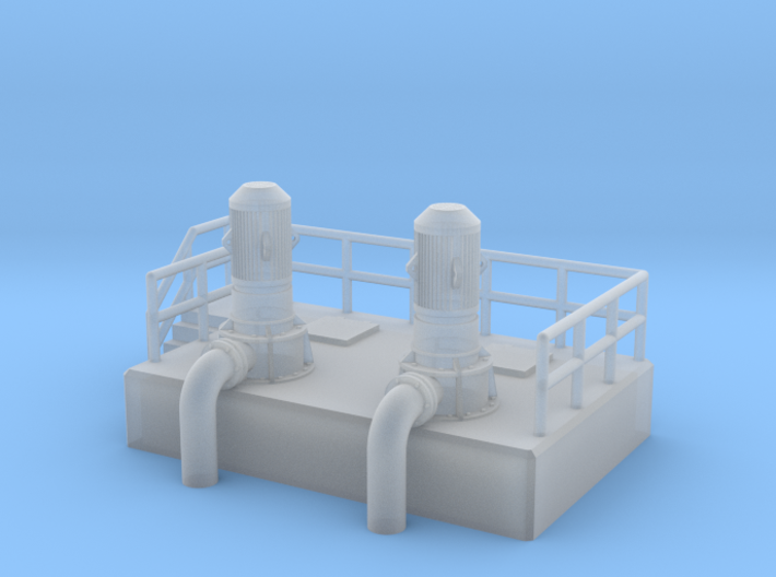 N Scale Cooling Pump Station w railings 3d printed