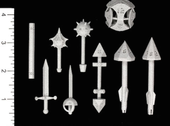 Spear D8 3d printed Image courtesy of Kevin Cook, www.dicecollector.com .  Other weapons also shown.