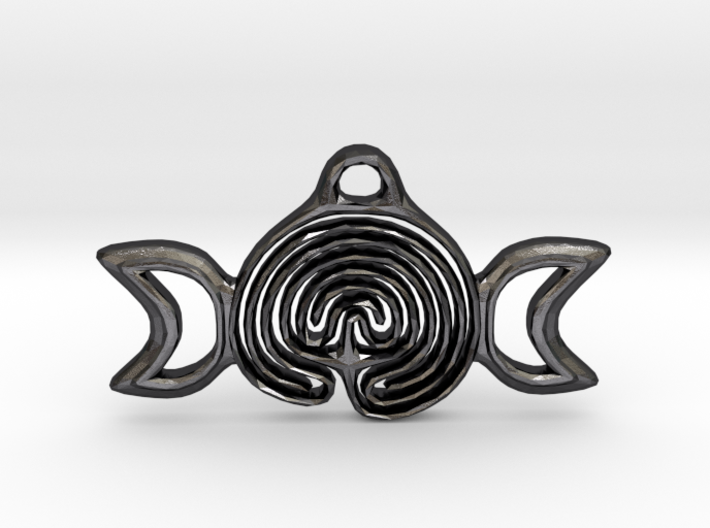 Labyrinth Moon Goddess Pendant 3d printed