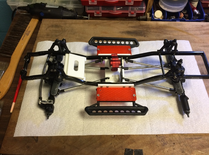 SCX10 LCG Skid Plates ~ Chassis Conversion 3d printed Assembled on Axial SCX10 Chassis - top view.