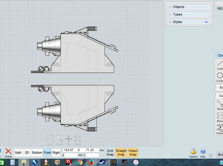 Rescaled forward part for Tracy - dual parts 3d printed
