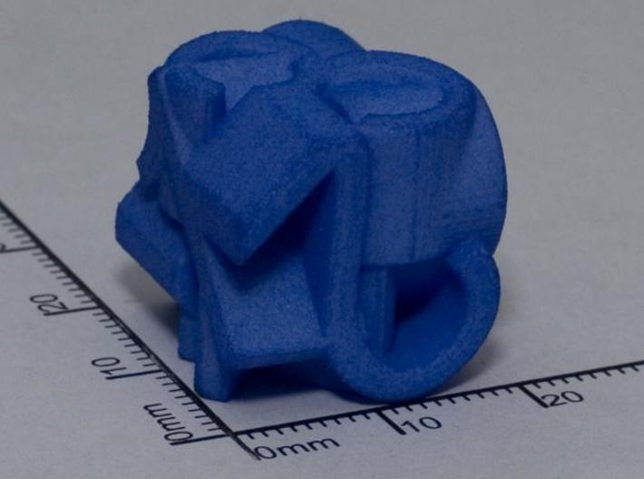 Frameless D6 3d printed WSF died blue at home