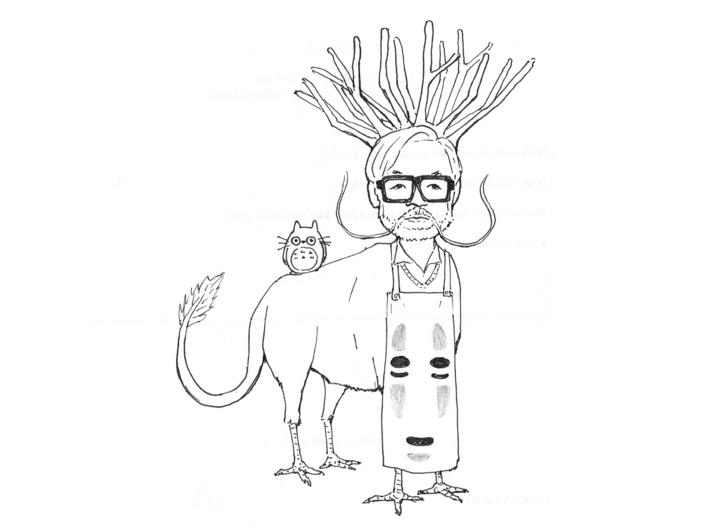 The Hiyatoro Miyazaki Spirit 3d printed This is my preliminary sketch I used to design my sculpture.