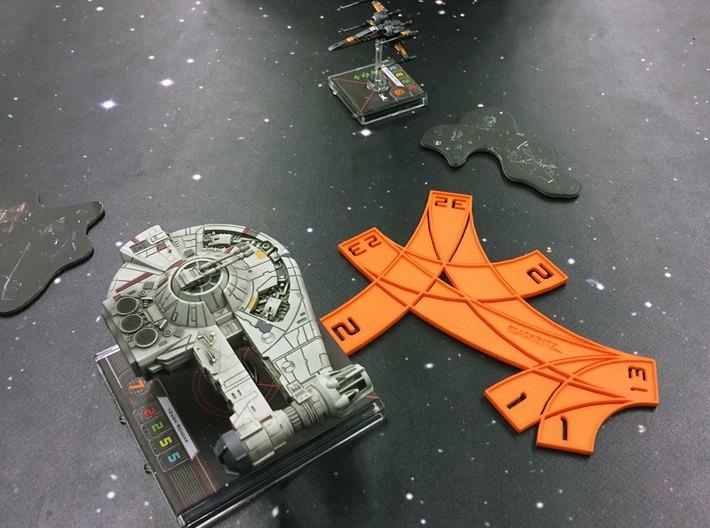 X-wing Multi template (with custom text) 3d printed Works with both small and large ships