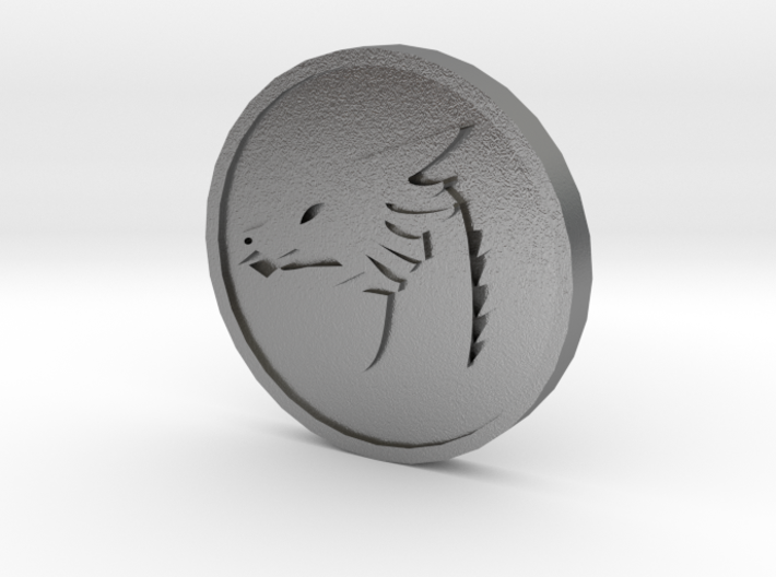 Pyre Coin Moon Silver 3d printed