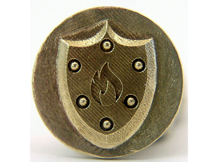 Pyre Coin Ember Bronze 3d printed