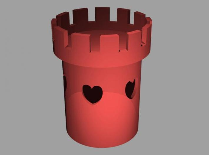 Tower of Love - Tealight Candle Holder  3d printed Rendered view 2
