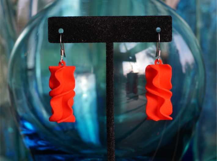 Sinusoidal Rotini Earrings 3d printed Sinusoidal Rotini in Red Strong & Flexible Polished
