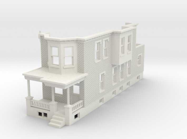 HO scale WEST PHILLY ROW HOME END  3d printed