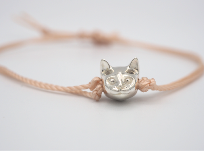 Cat Lover Friendship Bracelet Charm - Smiley Cat 3d printed Wouldn't you want this smiley cat face looking at you during the day?