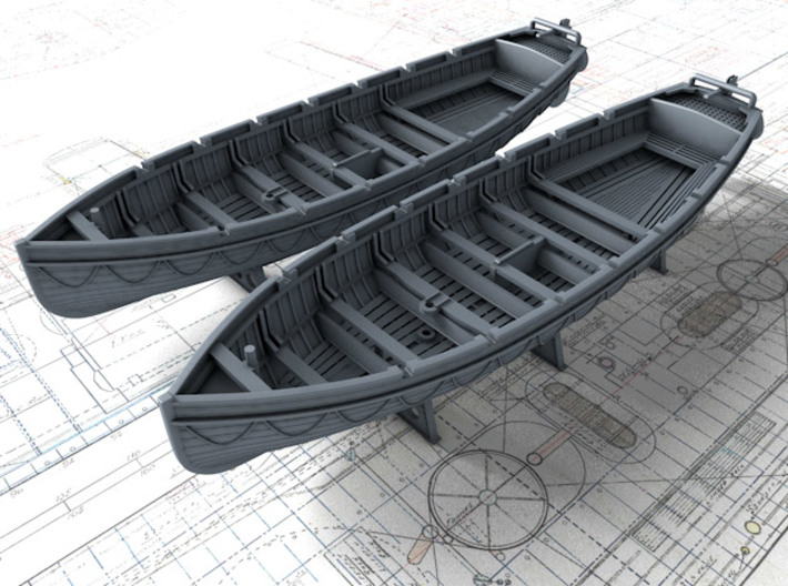 1/200 Scale Royal Navy 32ft Cutters x2 3d printed 1/200 Scale Royal Navy 32ft Cutters x2