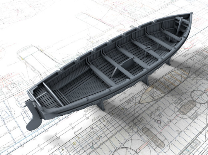 1/200 Scale Royal Navy 32ft Cutters x2 3d printed 3d render showing set detail
