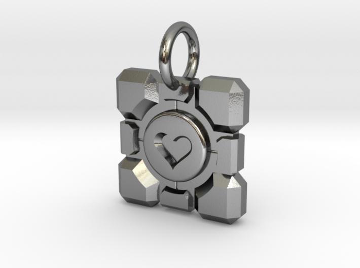 Portal Companion Cube Thin Pendant 3d printed