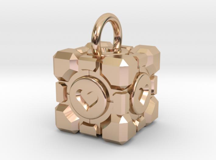 Portal Companion Cube Pendant 3d printed