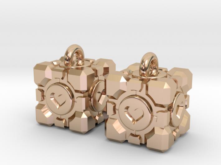 Portal Companion Cube Earrings 3d printed