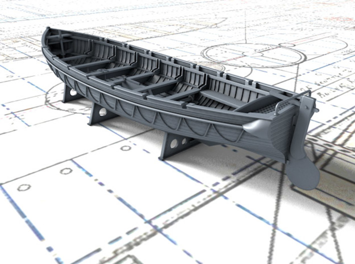 1/128 Scale Royal Navy 32ft Cutter x1 3d printed 3d render showing set detail