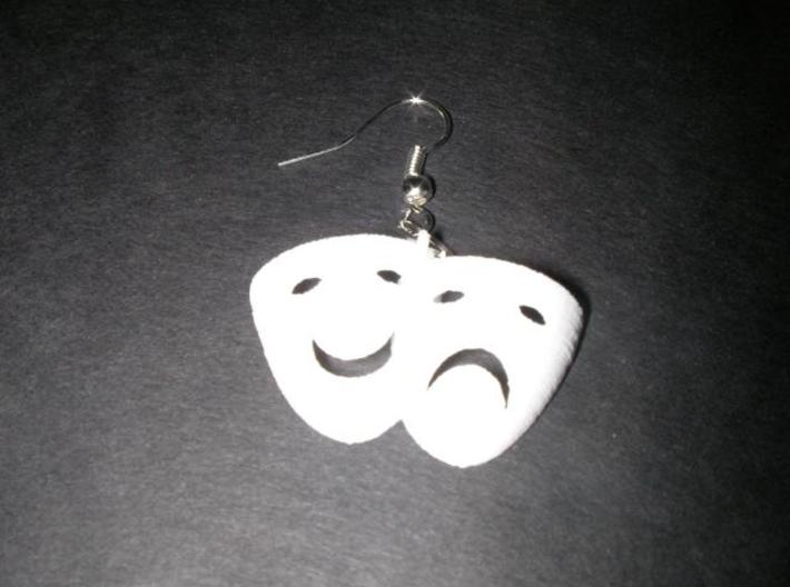 Tragedy & Comedy Mask Earring 3d printed printed, not sanded